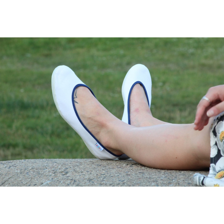 Baleríny Slim - bílá modrá