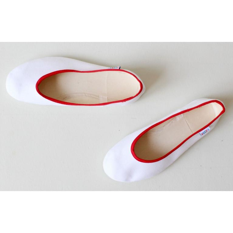 Baleríny Slim - bílá červená